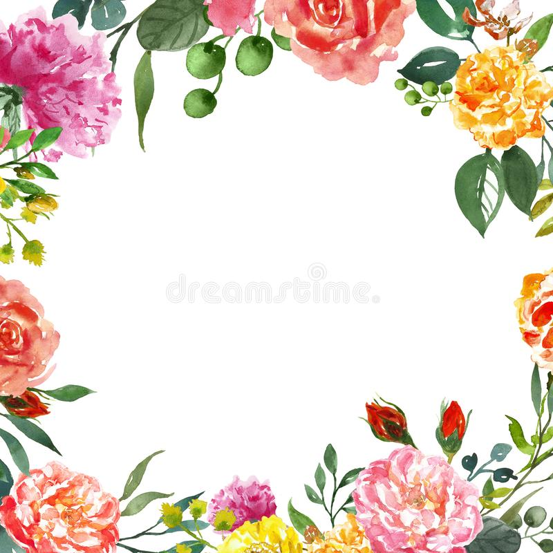 Watercolor floral frame template for wedding invitations, save the date cards, greetings and any occasion cards design.  royalty free stock photo