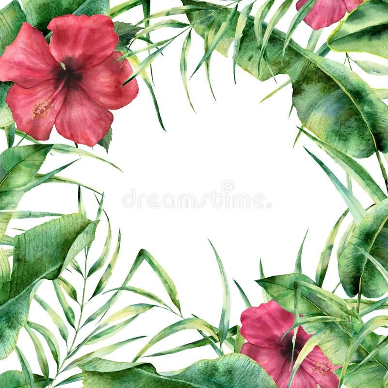 Watercolor floral frame with tropic greenery and flowers. Hand painted exotic border with palm tree leaves, banana royalty free illustration
