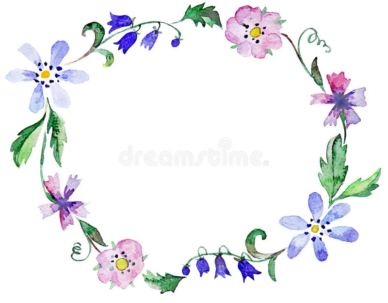 Watercolor floral frame stock illustration