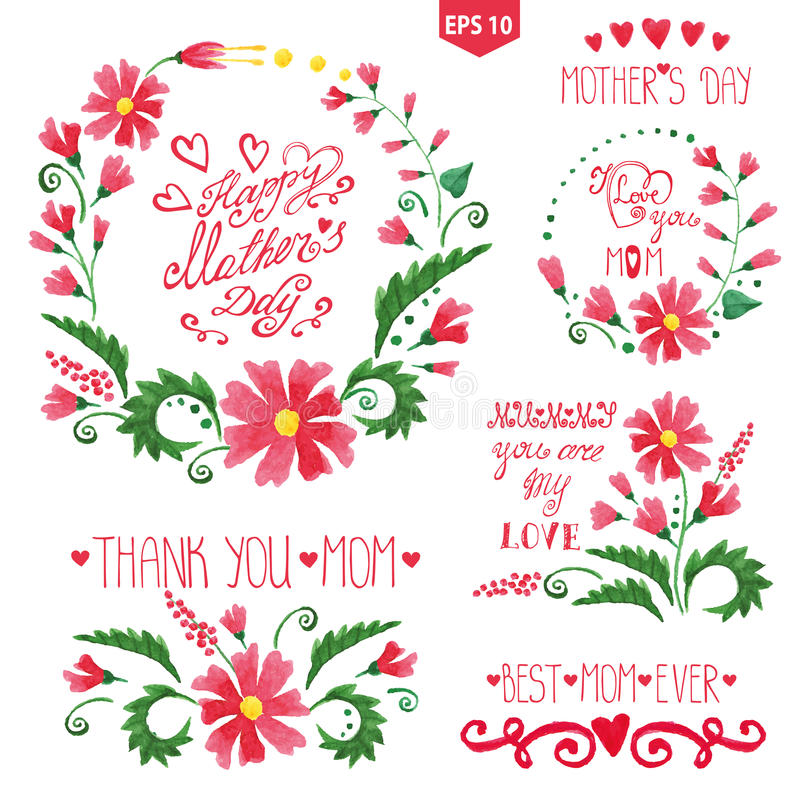 Watercolor floral goup ,headlines set.Mother day. Mother day watercolor decor set.Red flowers bouquet,wreaths and catchwords,heart,swirling, headline.Hand drawn vector illustration