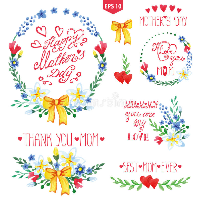Watercolor floral goup,heart,headlines set.Mother. Mother day watercolor decor set.Flowers bouquet, wreaths and catchwords,heart, branches,bow, headline.Hand stock illustration