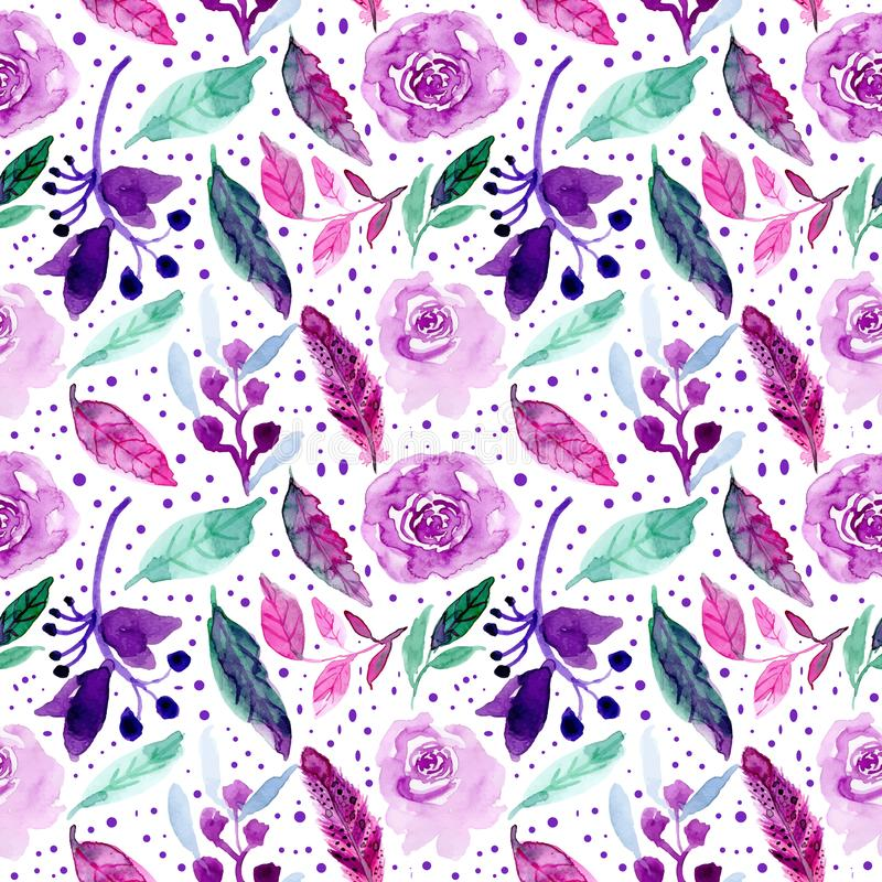 Watercolor floral green purple seamless pattern stock illustration
