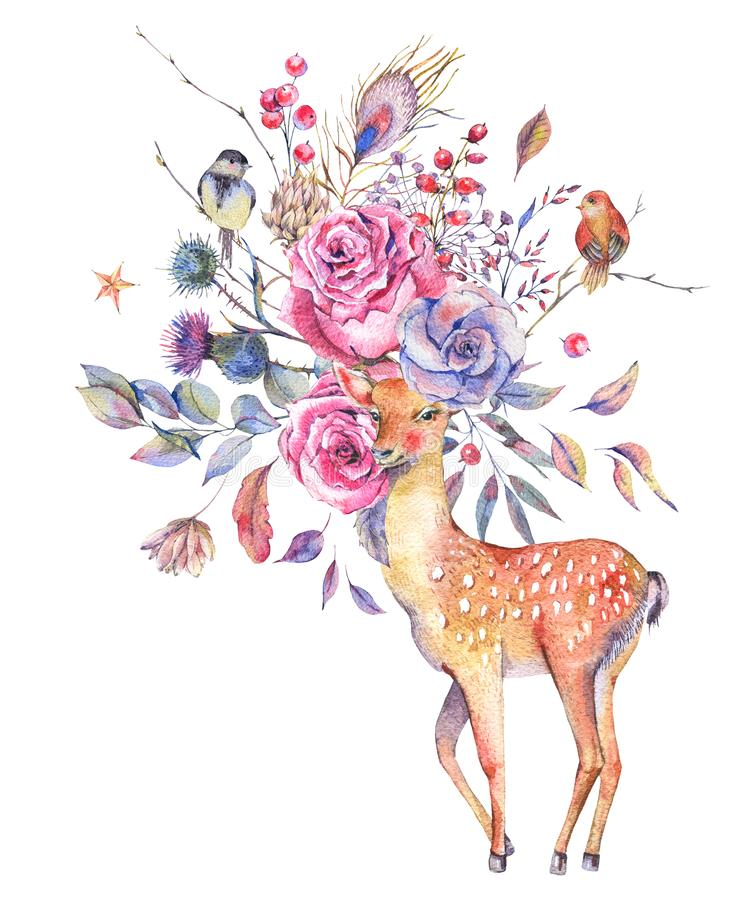 Watercolor floral greeting card with cute deer vector illustration