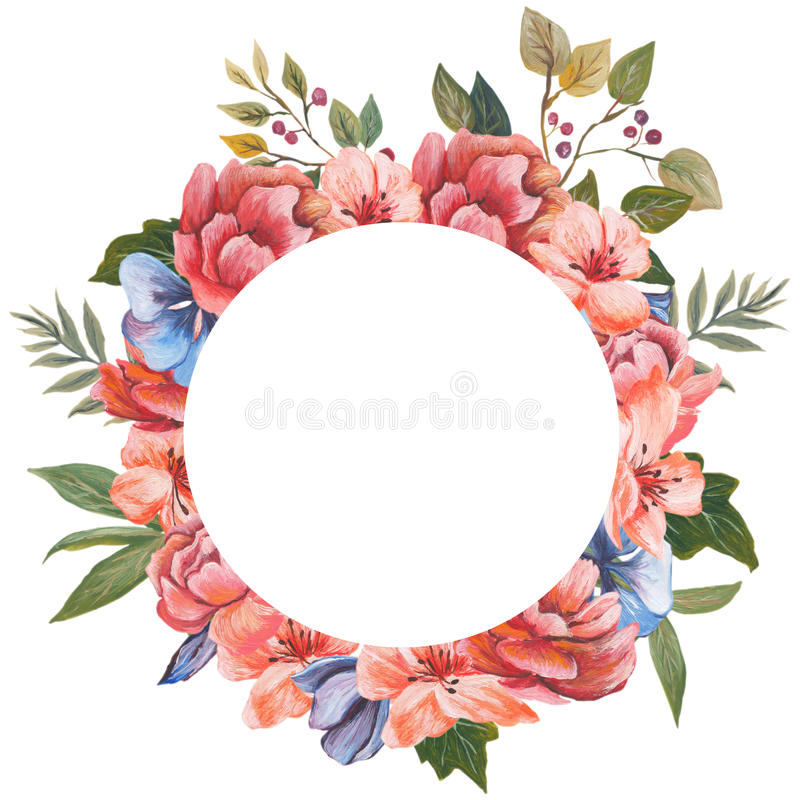 Watercolor floral greeting card. Watercolor floral bouquet. Floral decorative frame. Isolated on white background. royalty free illustration