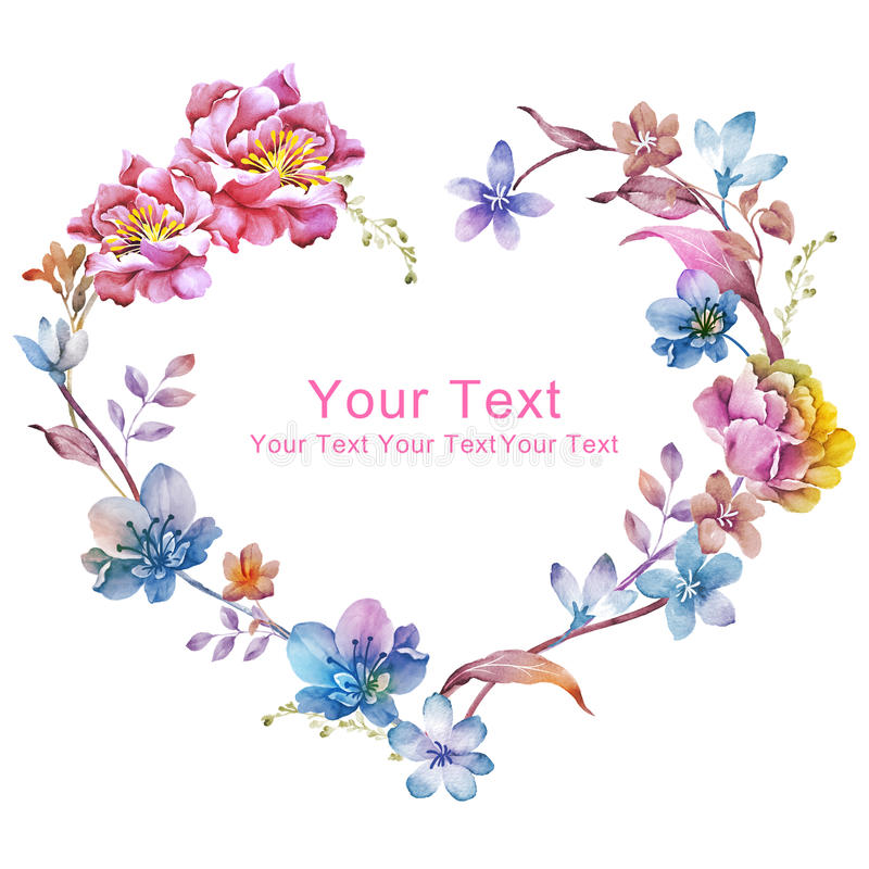 Watercolor floral illustration collection. flowers arranged un a shape of the wreath perfect royalty free stock image