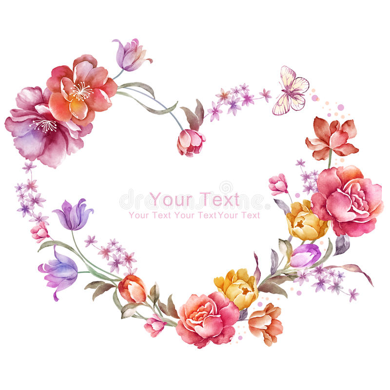 Watercolor floral illustration collection. flowers arranged un a shape of the wreath perfect royalty free illustration