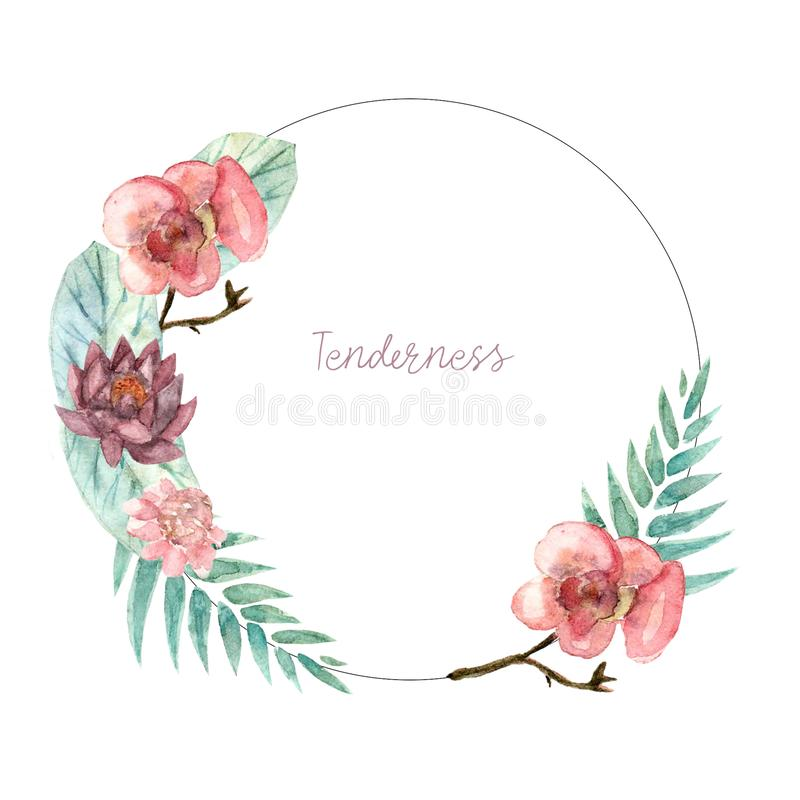 Watercolor floral wreath tropical. Watercolor floral illustration - wreath with tropical green leaves and vivid flowers, for wedding stationary, greetings royalty free illustration