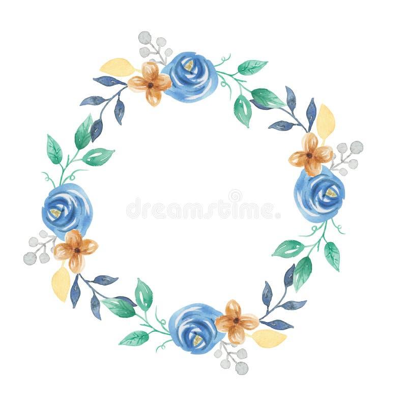 Watercolor Floral Leaves Berries Blue Flowers Wreath Garland. Hand Painted Watercolor Floral Leaves Berries Flowers Wreath Garland stock illustration