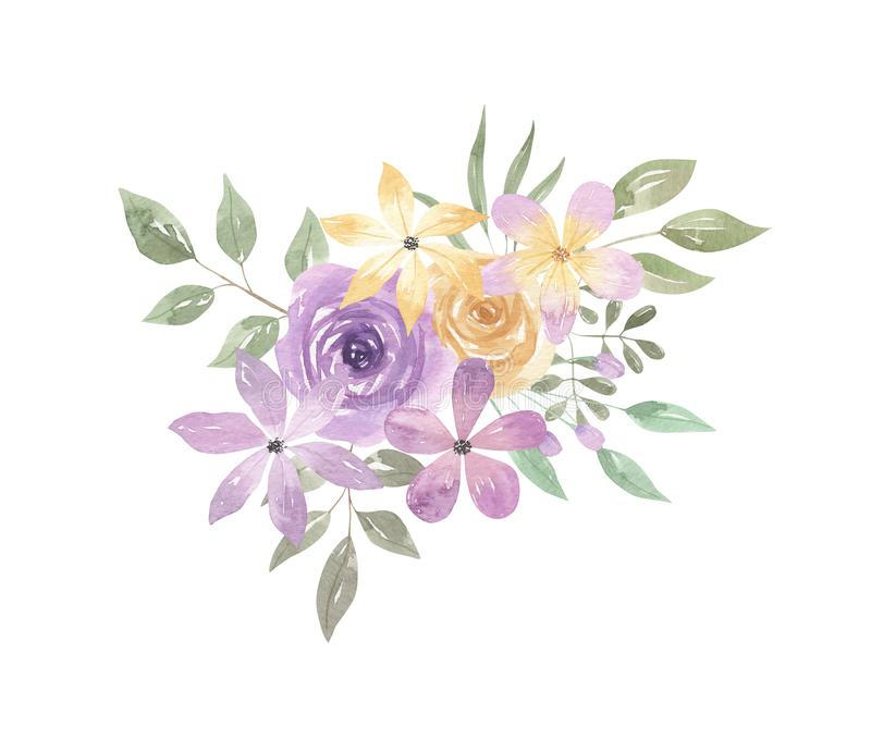 Watercolor Floral Leaves Berries Buds Arrangement Purple Yellow. Hand Painted Watercolor purple and yellow Spring time floral arrangement. Pastel colours with a vector illustration