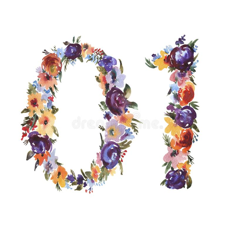 White Flowers Numbers And Symbols Stock Vector