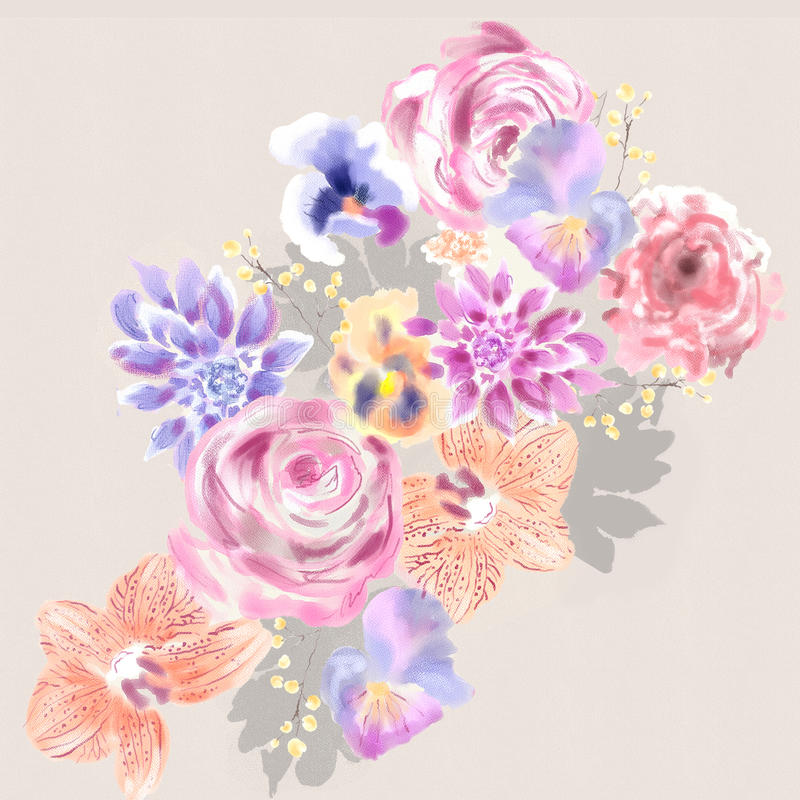 Watercolor Floral Painting. Floral design vector illustration