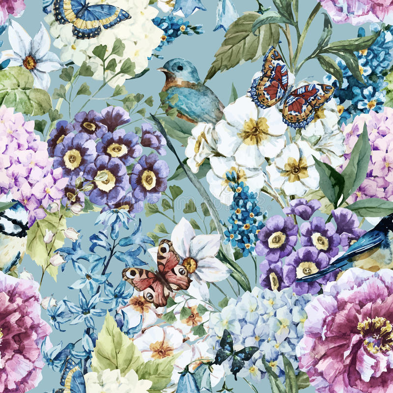 Watercolor floral pattern. Beautiful vector image with nice watercolor floral pattern royalty free illustration