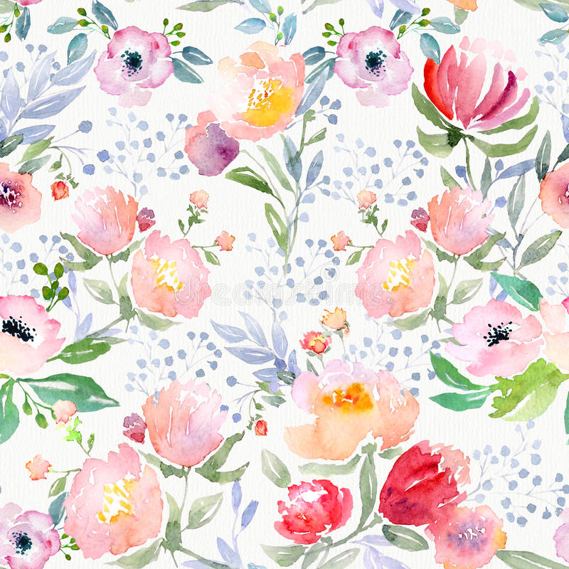 Watercolor floral pattern vector illustration