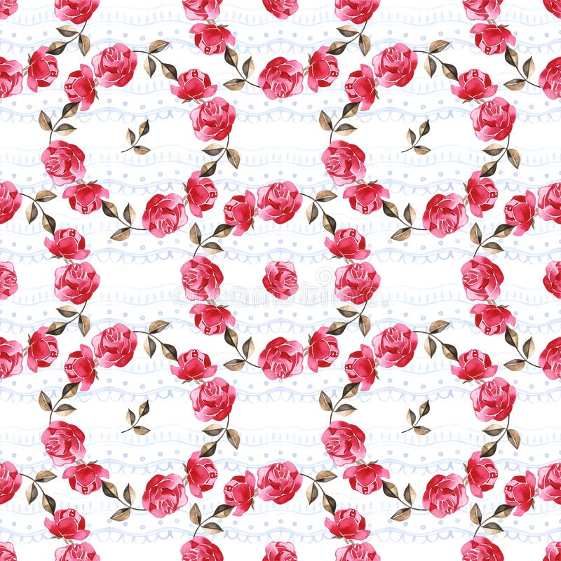 Watercolor floral pattern with gently pink English rose and spring flowers. Vintage seamless pattern. royalty free stock images