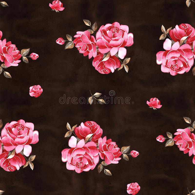 Watercolor floral pattern with gently pink English rose and spring flowers. Vintage seamless pattern. Watercolor floral pattern with gently pink English rose royalty free stock photography
