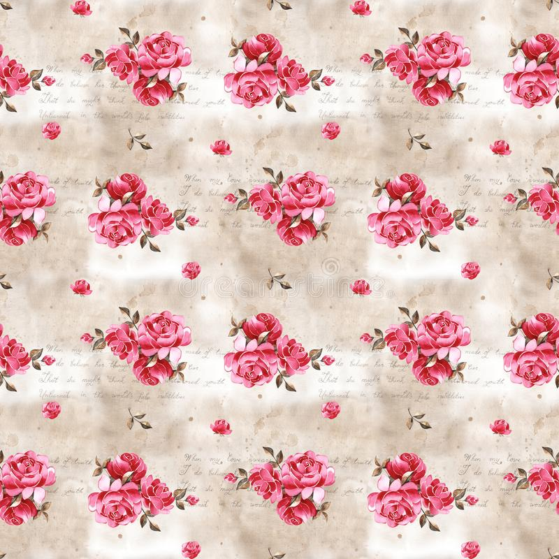 Watercolor floral pattern with gently pink English rose and spring flowers. Vintage seamless pattern. Watercolor floral pattern with gently pink English rose royalty free illustration