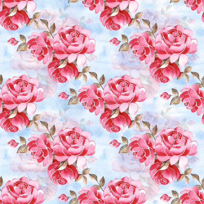 Watercolor floral pattern with gently pink English rose and spring flowers. Vintage seamless pattern. Watercolor floral pattern with gently pink English rose vector illustration