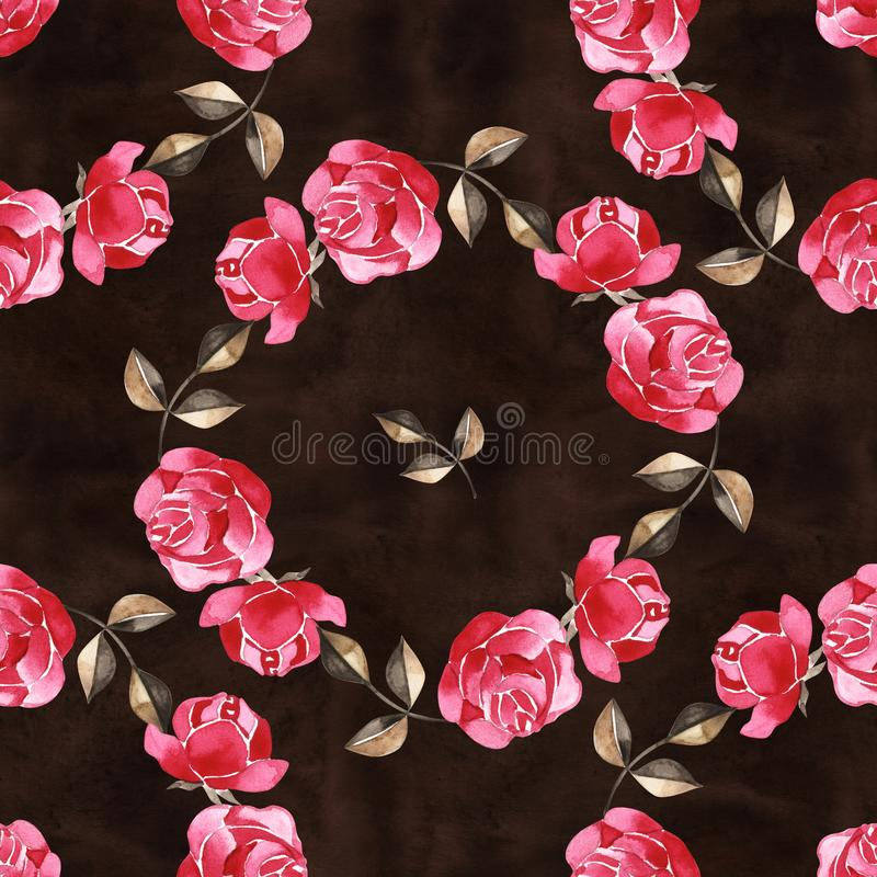 Watercolor floral pattern with gently pink English rose and spring flowers. Vintage seamless pattern. Watercolor floral pattern with gently pink English rose stock illustration