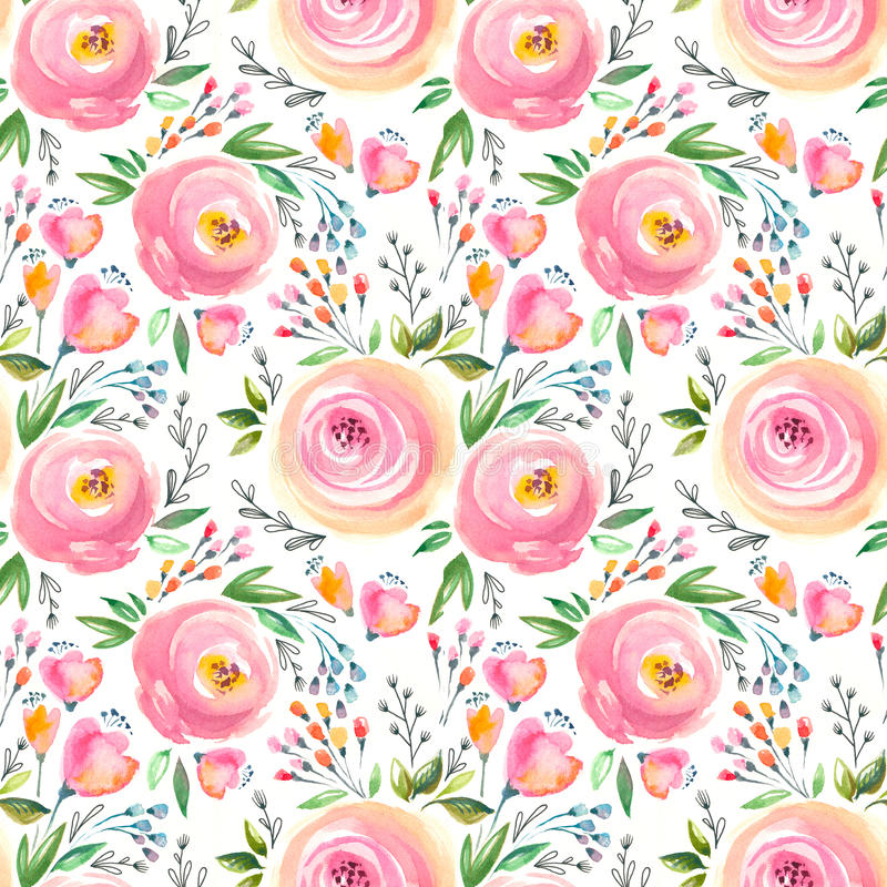 Watercolor floral pattern and seamless background. Hand painted. Gentle design. stock illustration