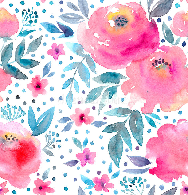 Watercolor floral pattern and seamless background. Hand painted. Gentle design. royalty free illustration