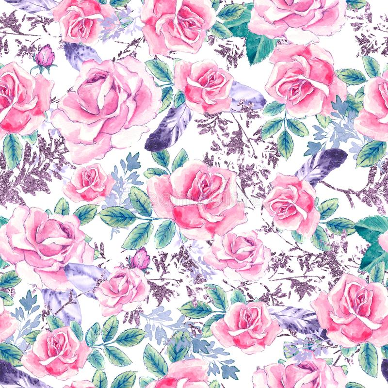Watercolor floral pattern. Seamless pattern with purple and pink bouquet on white background. Meadow flowers, roses vector illustration