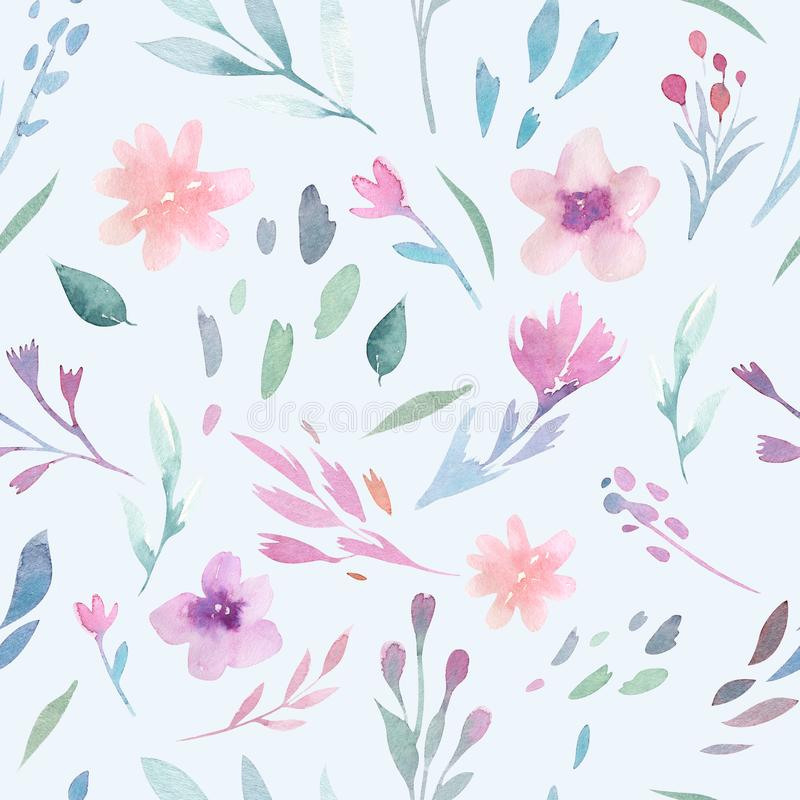 Watercolor floral pattern. Seamless pattern with purple, gold and pink bouquet on white background. Flowers, roses vector illustration