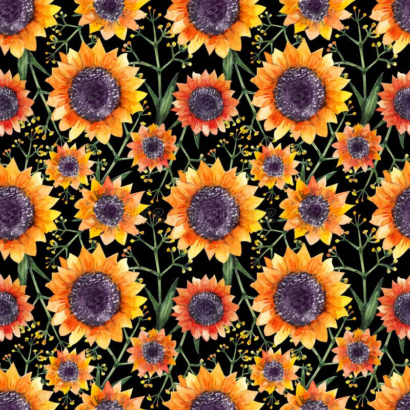 Watercolor floral pattern royalty free illustration