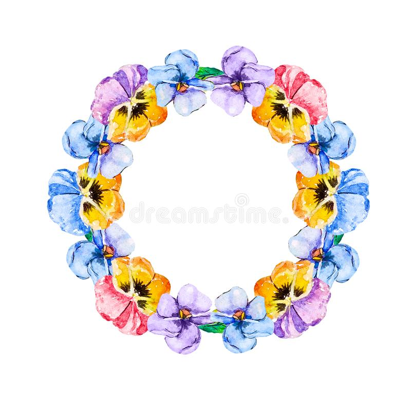 Watercolor floral round frame of viola pansies of multicolored flowers on a white background, isolated for card invitations, stock illustration