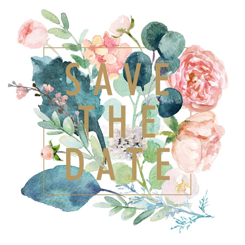 Watercolor floral SAVE THE DATE illustration with prearranged flower bouquet composition on white background 向量例证