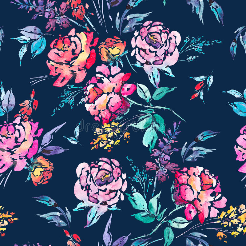 Watercolor floral seamless border with red roses stock illustration