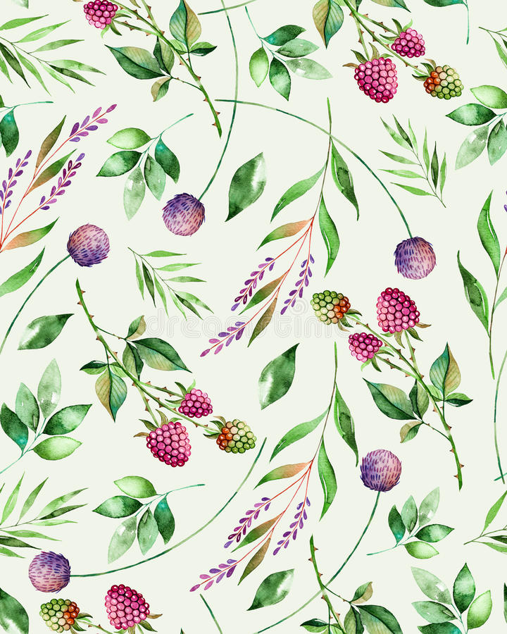 Watercolor floral seamless pattern with flowers,raspberry,branches and foliage. vector illustration