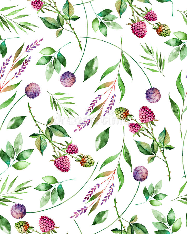 Watercolor floral seamless pattern with flowers,raspberry,branches and foliage. stock illustration