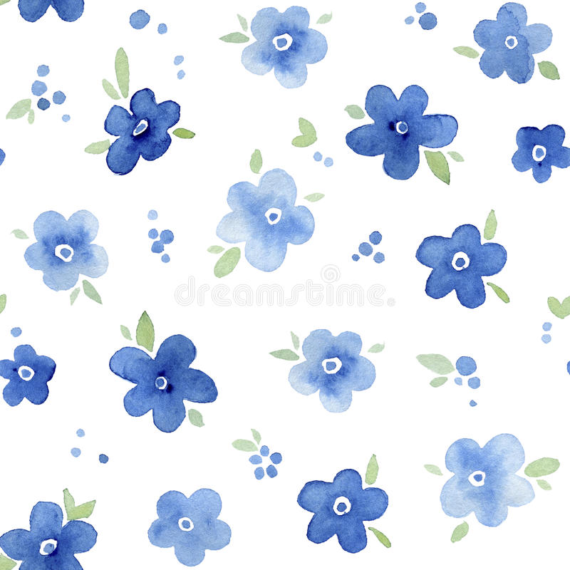 Watercolor floral seamless pattern. Forget-me-not flowers. vector illustration