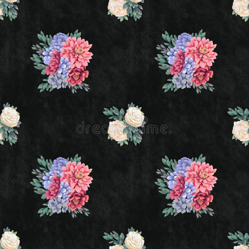 Watercolor floral seamless pattern. Hand painted flowers, greeting card template or wrapping paper stock illustration