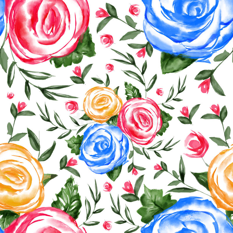 Watercolor Floral Seamless Pattern royalty free illustration