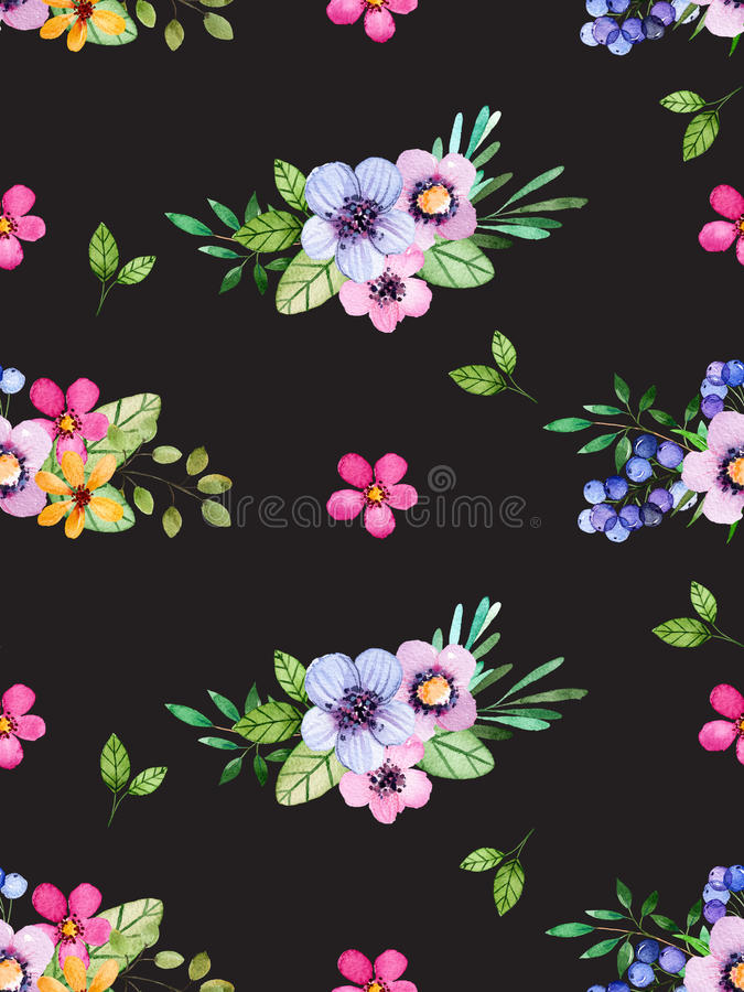 Watercolor floral seamless pattern with multicolored flowers,leaves,berries on black background. royalty free illustration