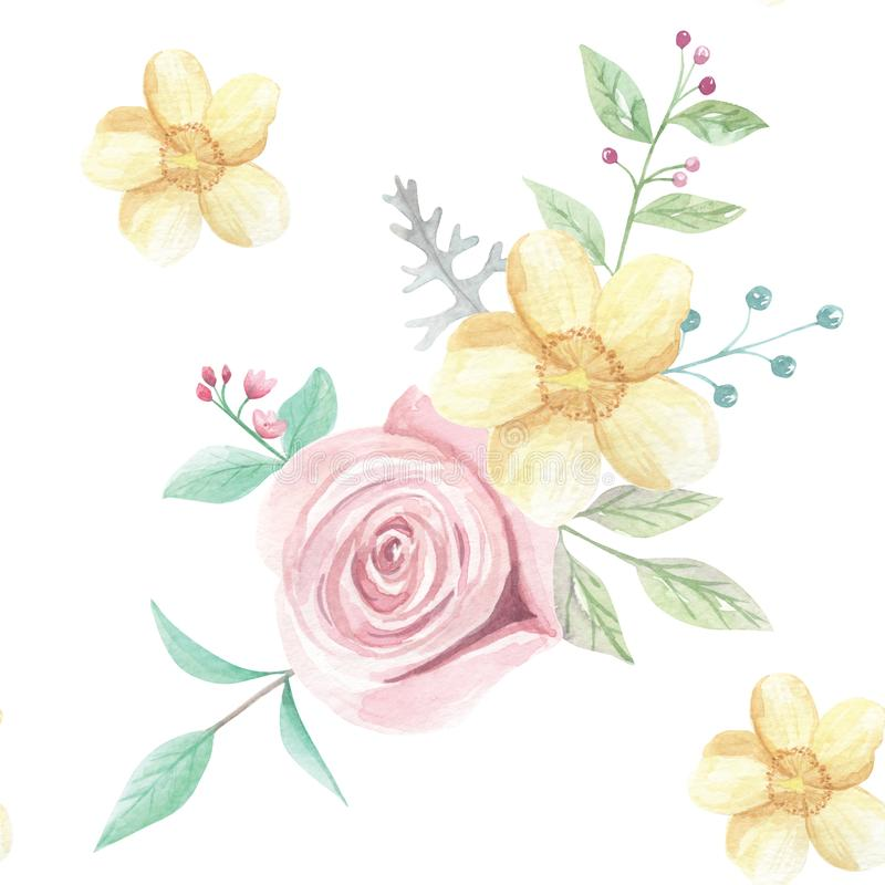 Watercolor pink yellow flower wedding spring summer seamless pattern download watercolor pink yellow flower wedding spring summer seamless pattern stock illustration illustration of foliage mightylinksfo