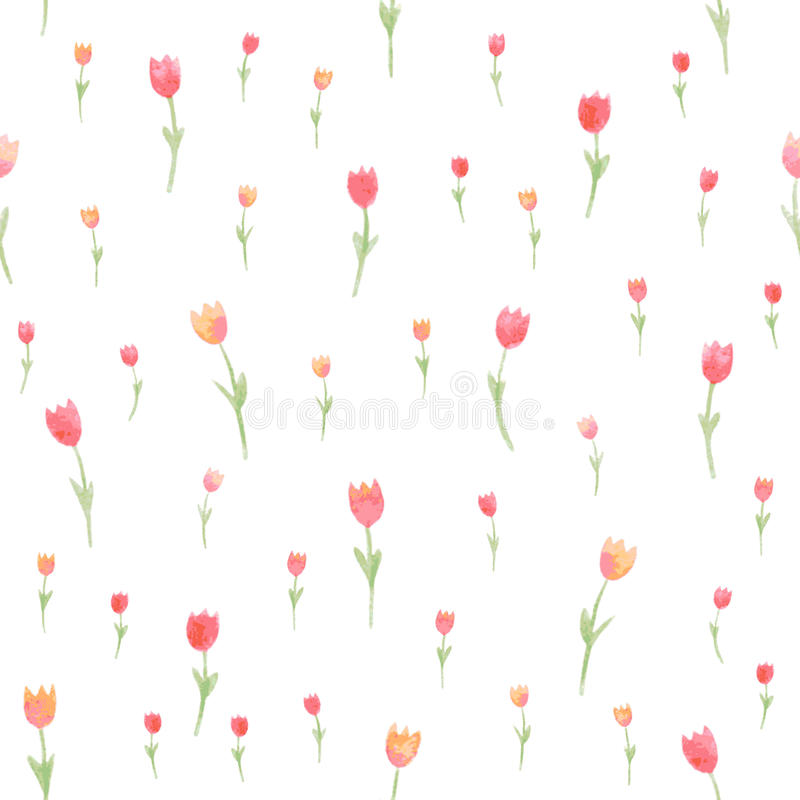 Watercolor floral seamless pattern. Tulips. Vector illustration. Beautiful background. royalty free illustration