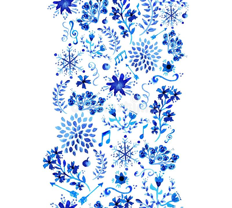 Watercolor floral seamless pattern. stock photo