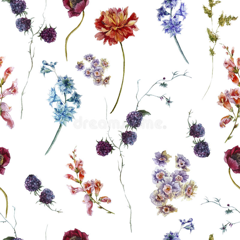 Watercolor floral seamless pattern with stock photos