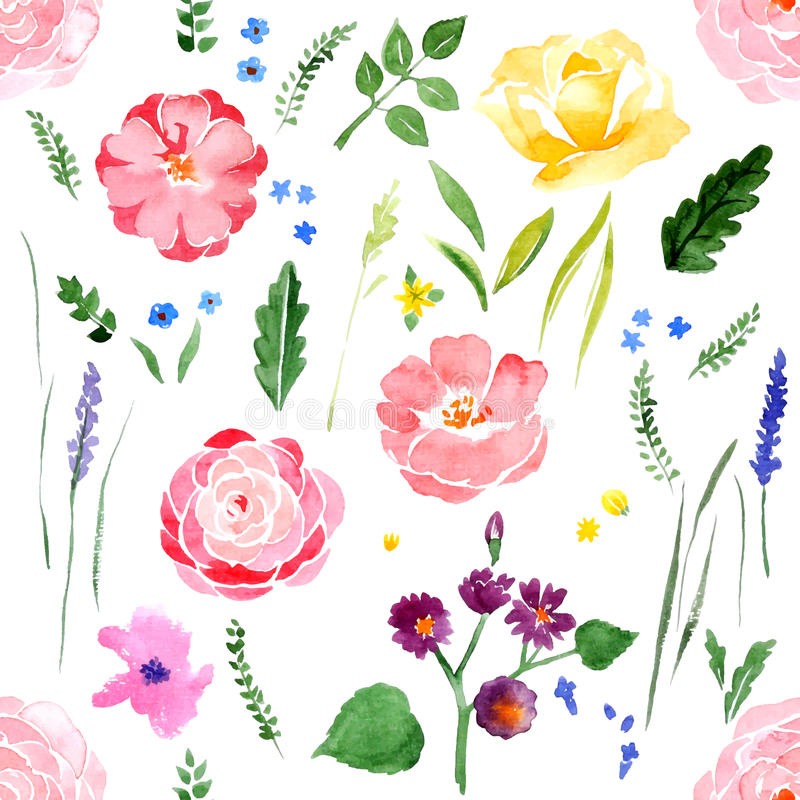 Watercolor floral seamless stock illustration
