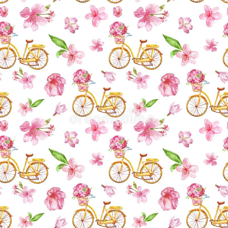 Free Watercolor Floral Seamless Pattern With Pink Flowers And Bicycle, Isolated On White Background. Summer Illustration Royalty Free Stock Image - 145415356