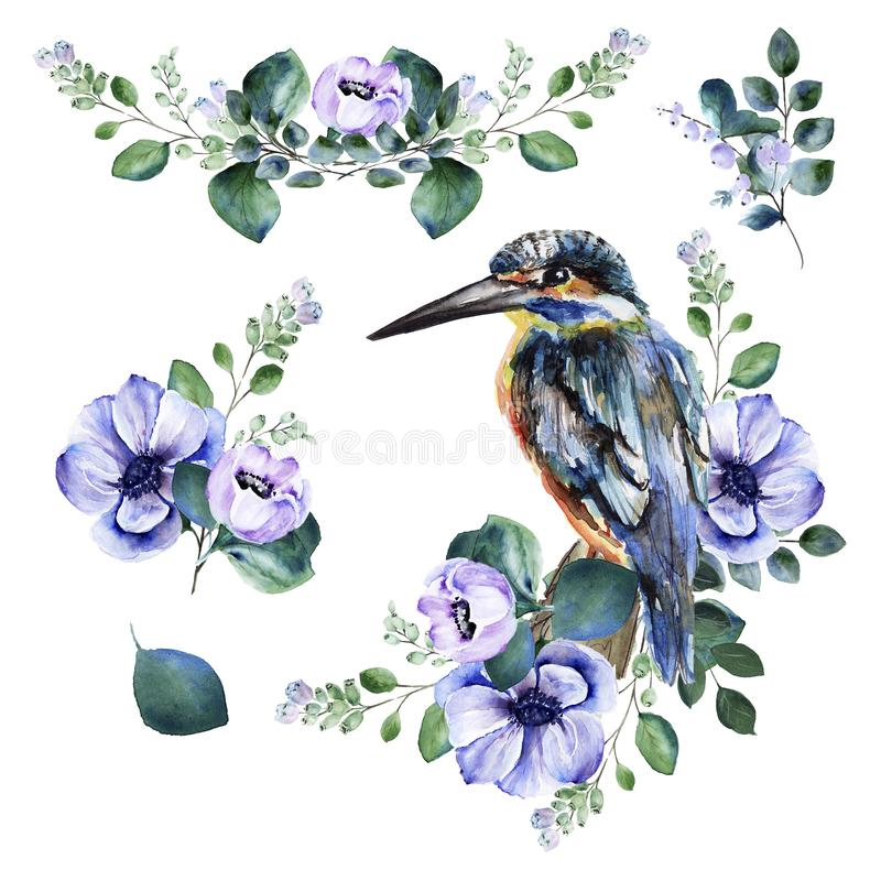 Watercolor floral set with delicate spring purple anemone flowers and green twigs and blooming snowberry and kingfisher bird stock photography