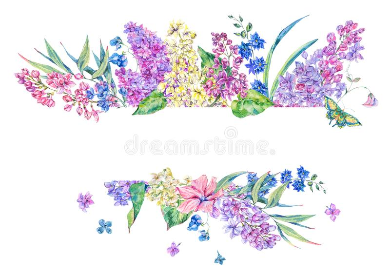 Watercolor floral spring greeting card with lilac stock illustration