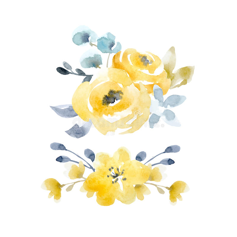 Beautiful Watercolor Floral Vector Composition With Abstract Autumn Flowers On Transparent Background