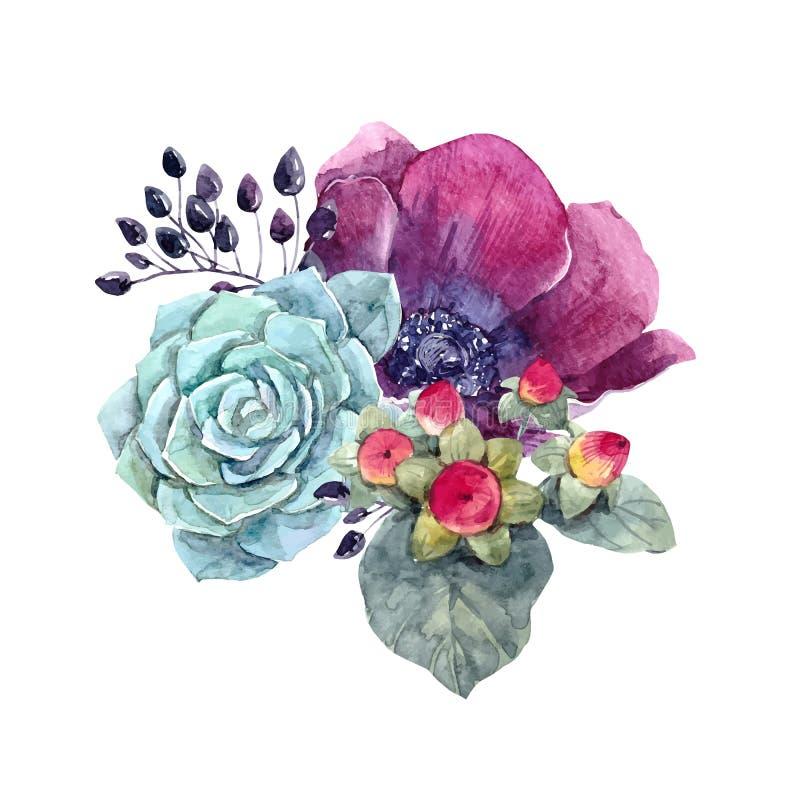 Watercolor floral vector composition vector illustration