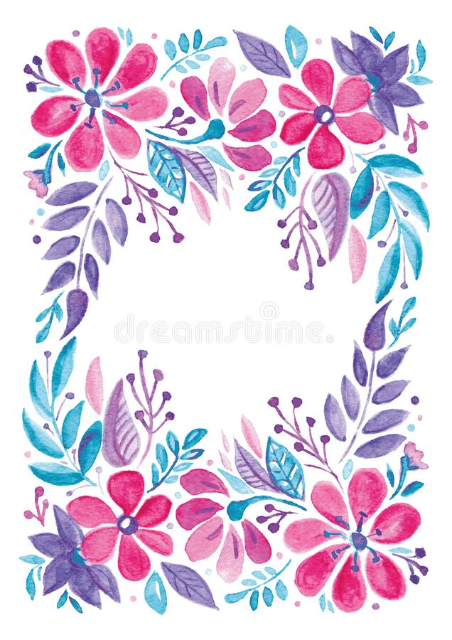Watercolor floral wedding greeting card stock illustration