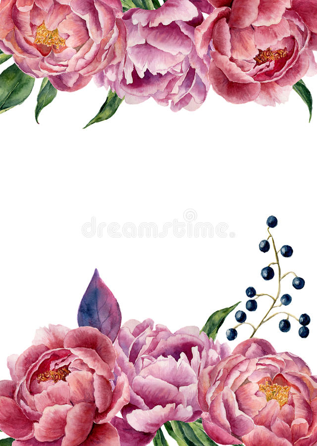Watercolor floral wedding invitation. Hand drawn vintage frame with peony, leaves and berries. Isolated on white background. For stock illustration