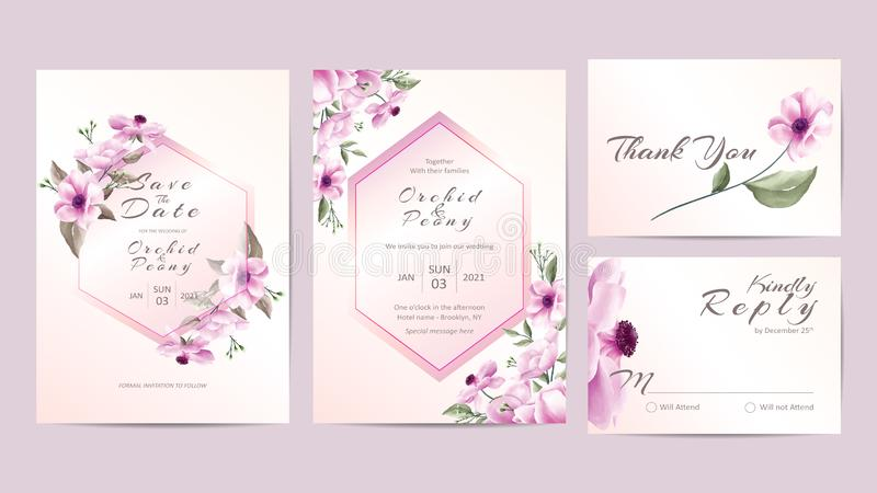 Watercolor Floral Wedding Invitation Template Golden Frame. Hand Drawing Roses and Hibiscus Flower with Branches Save the Date, stock illustration