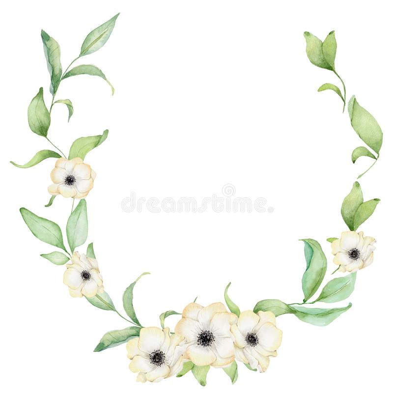 Watercolor floral wreath. Anemone flowers and leaves vector illustration